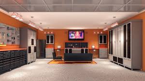 Interior Unique Garage Design Ideas  Sleek And Neat Garage Man - Unfinished basement man cave ideas