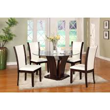 magnificent dining room decoration idea using wooden white leather dining chair including solid cherry wood pedestal