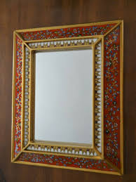 aged wall mirror reverse painted glass