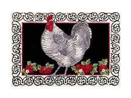 ont rooster hooked rug