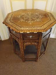 Indian Style Coffee Table C19th Indian Ivory Inlaid Shisham Indian Rosewood Octagonal