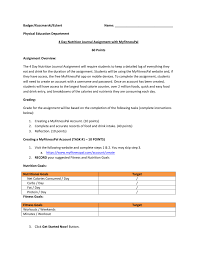 Fitness And Nutrition Journal Myfitnesspal Assignment