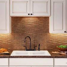 white traditional kitchen copper. Traditional Kitchen Decor With Stylish Fasade Copper Tile Backsplash, Vintage White Painted Wooden Cabinet, :