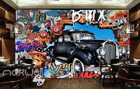 vintage car wall art graffiti vintage car break wall murals wallpaper wall art decals decor old car grill wall art