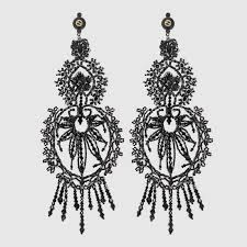 gucci earrings. earrings with crystal embroidery gucci i