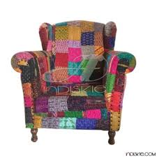 vintage upholstered chair. Plain Chair Kantha Fabric Vintage Upholstered Chair On A