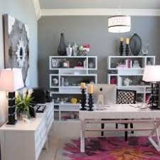 gray home office. Sophisticated Gray Home Office Features Pops Of Pink