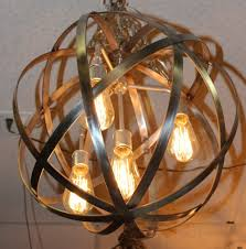 image of bright wine barrel chandelier