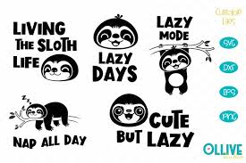 Sloths are arboreal mammals noted for slowness of movement and for spending most of their lives hanging upside down in the trees of the tropical rainforests the sloth is so named because of its very low metabolism and deliberate movements, sloth being related to the word slow. Lazy Sloth Svg Sloth Cut Files 524190 Cut Files Design Bundles
