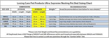 Pet Bed Size Chart Loving Care Pet Products Ultra Supreme Nesting Style Pet Bed