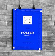 poster psd free hanging over wall poster mockup psd