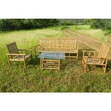 brown rectangular bamboo sofa set with