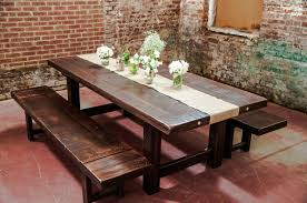 rustic dining room tables with bench. rustic farmhouse dining room design with reclaimed wood trestle table benches and white burlap runner flower centerpieces tables bench