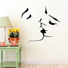 wall art stickers face kiss couple wedding wall art sticker decal home decoration decor agxjfdk