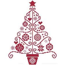 Christmas Tree Cross Stitch Chart Folk Art Tree Three