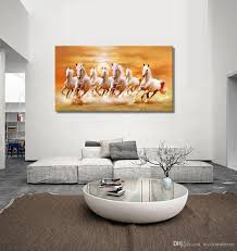 Painting For Living Room Wall 2017 Famous White Horse Running Picture Canvas Painting Home Wall
