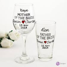 mother father of the bride groom wine beer glass set text heart design personalised hand painted
