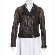 shawl collar distressed leather jacket for women