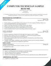 Computer Technician Resume Skills Computer Technician Resume