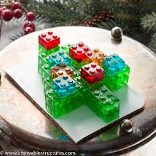 this tree made of stackable gummy lego candy might be one of the best food