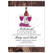 Dinner Invation Wine Tasting Rehearsal Dinner Invitation