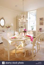 French Style Dining Room Furniture White French Style Chairs And Painted Oval Table In White