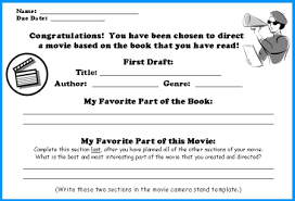 movie camera book report project templates worksheets rubric  movie camera book report first draft writing worksheets