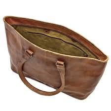 large leather tote bag inside
