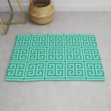 mermaid blue greek key pattern rug