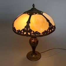 slag glass lamp arts and crafts arts crafts antique school filigree slag glass lamp for slag