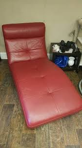 red leather chaise longue