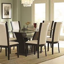 Glass top dining sets Pine Wood Dining Table Homelegance Daisy Rectangular Glass Top Dining Table In Espresso Furniturecom Glass Top Dining Room Table Sets