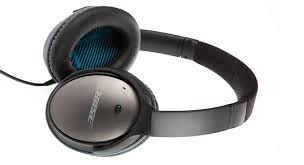 bose 25. the clamp force is perfectly judged; they grip but never squeeze. protein (synthetic) leather earpads are gentle on face, memory foam bose 25