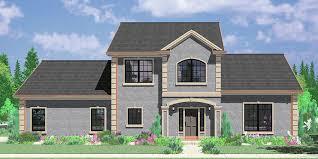 corner lot house plans with side load garage 3d