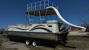 77 landau elite tri toon slide 27 ft 2005 waterslide pontoon boat