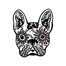 Discover Card Designs Frenchie Milk Mug Designs French Bulldog Sugar Skull 5 Inch Full Color Vinyl Decal