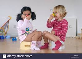 Two Toddler Girls Using A Potty Stock Photo 3110398 Alamy