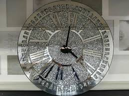 round crushed jewel mirror wall clock