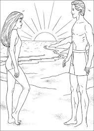 Disegno Di Barbie E Ken Alla Spiaggia Da Colorare Disegni Da