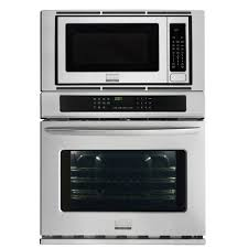 electric convection wall oven with built in microwave in stainless