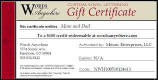 Gift Certificate Wording Wording For Gift Certificate Rome Fontanacountryinn Com