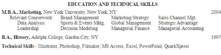 Example Resume Education Section MBA, Marketing