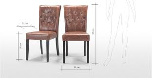 com 2 x flynn dining chairs chestnut dark brown faux leather on back