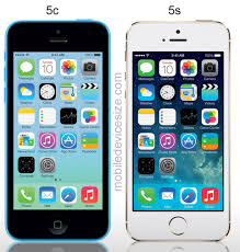 iphone 5c and 5s side by side size parison