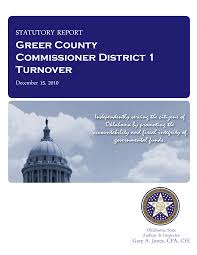 County officer turnover statutory report, Danny Holt, Greer County  Commissioner District 1. - State Auditor & Inspector Audits - Oklahoma  Digital Prairie: Documents, Images and Information