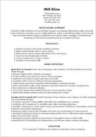 Online Marketer And Social Media Resume Template Best Design Stunning Social Media Marketing Resume