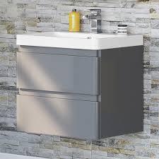600mm grey basin wall hung bathroom vanity unit furniture cabinet storage mv2602