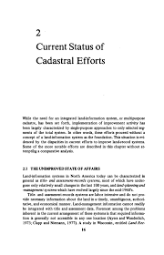 Current Status Of Cadastral Efforts Need For A
