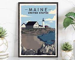 Free shipping on orders over $35. Maine Poster Etsy