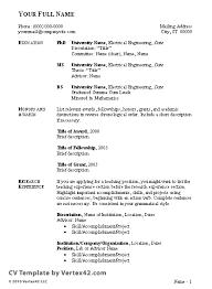 Cv Template English Resume Format